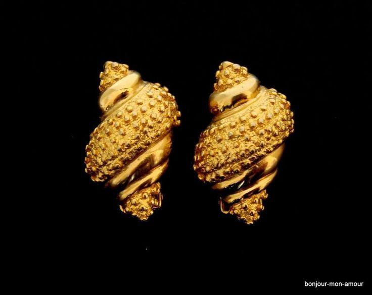 elegante, vergoldete Muschel Ohrclips Ohrringe, Boucles d oreilles, Earrings