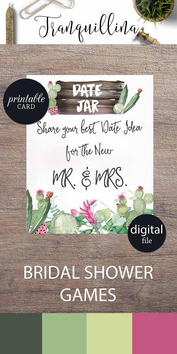guess who bridal shower game printable%0A Date Jar Sign Bridal Shower Game Printable Fiesta Bridal shower games   Succulent cactus bridal shower