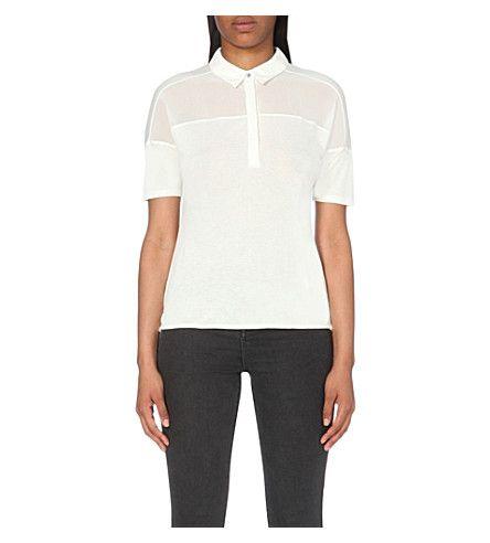 KAREN MILLEN Sheer-panel jersey polo shirt