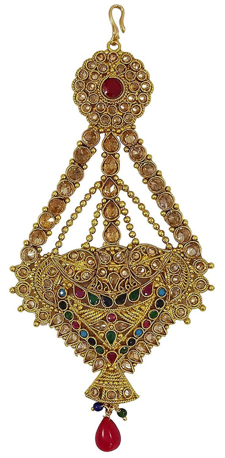 Matra Traditional Indian Goldtone Kundan Jhumar Passa Women Wedding Forehead Jewellery ** More info could be found at the image url. #JewellerySets