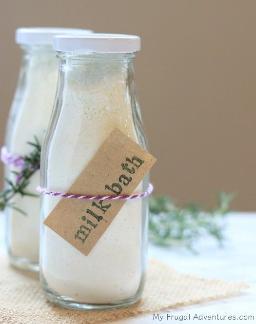 HOMEMADE LAVENDER MILK BATH INGREDIENTS •         1½ cups Powdered Milk •         ½ cup baking soda •         ½ cup cornstarch •         ½ cup epsom salts •         10-20 drops essential oil of your choice (optional)   INSTRUCTIONS 1.     Mix all ingredients together and add to a jar.