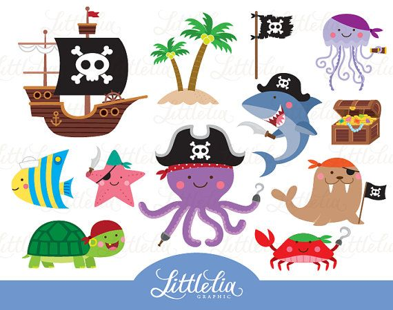 Animal pirate clipart - animal clipart - pirate clipart - 15092
