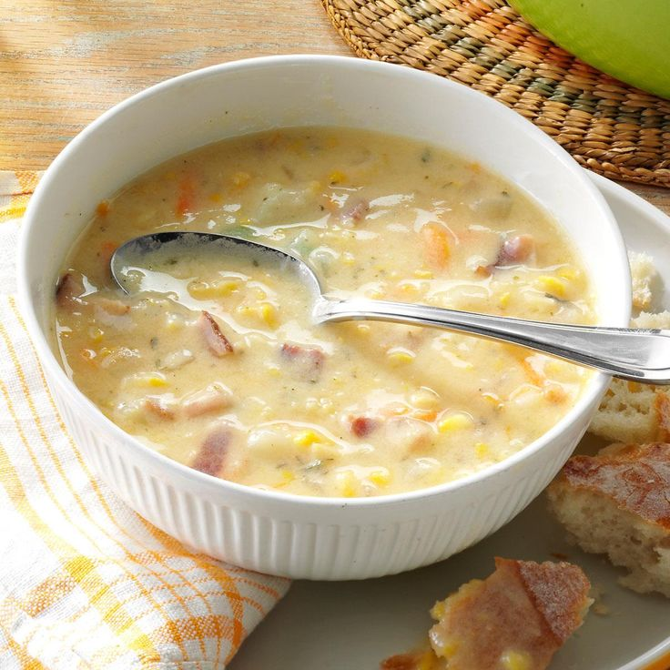 Corn Chowder with Potatoes Recipe -I developed this soup out of two others to create my own low-calorie recipe. It turned out so well that I entered it in my county fair and won a blue ribbon. —Alyce Wyman, Pembina, North Dakota