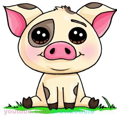 Cerdito de vaiana | Dibujos kawaii | Pinterest | Cerdo, Dibujos kawaii y Kawaii