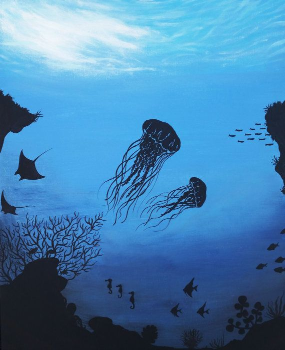 Ocean Reef Aquatic Life, Beauty in Silhouette Underwater, Original Acrylic Painting, Original Artwork, Original Silhouette Painting