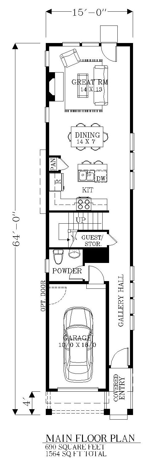 First Floor Plan of House Plan 46245 Very nice 1564sqft 3bdrom 15'wide