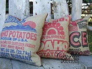 potato sack pillows by CrystelleBoutique