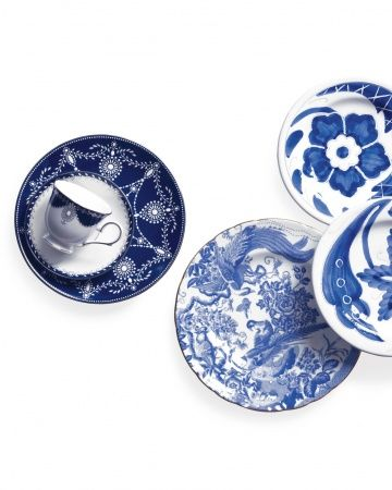 "Blue-Plate Special: From everyday dinnerware to the finest of china, blue-and-white patterns are classic without being boring. Register for these striking settings, and you'll use them for eternity. —Martha Stewart Weddings. From left: Marchesa by Lenox ""Empire Pearl Indigo Collection"", macys.com; Blue Aves dinner plate, neimanmarcus.com; Blu Bianco salad plates, vietri.com."