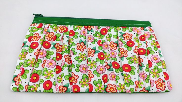 peppermint pink red green floral Ruffled Wristlet, small purse, evening bag, gift for her, cosmetic bag, clutch purse, unique gift, chic
