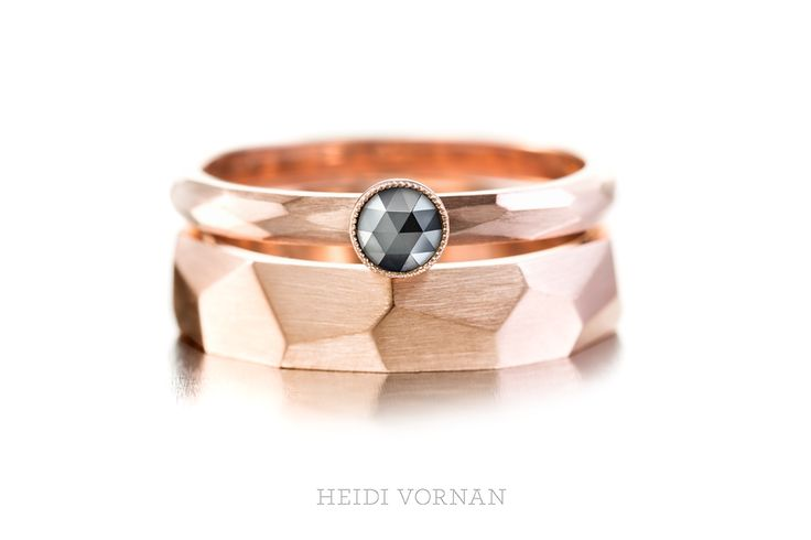 Custom-made rings from red gold 1x 0.23ct black rosecut diamond Design Heidi Vornan Photo Mikael Pettersson