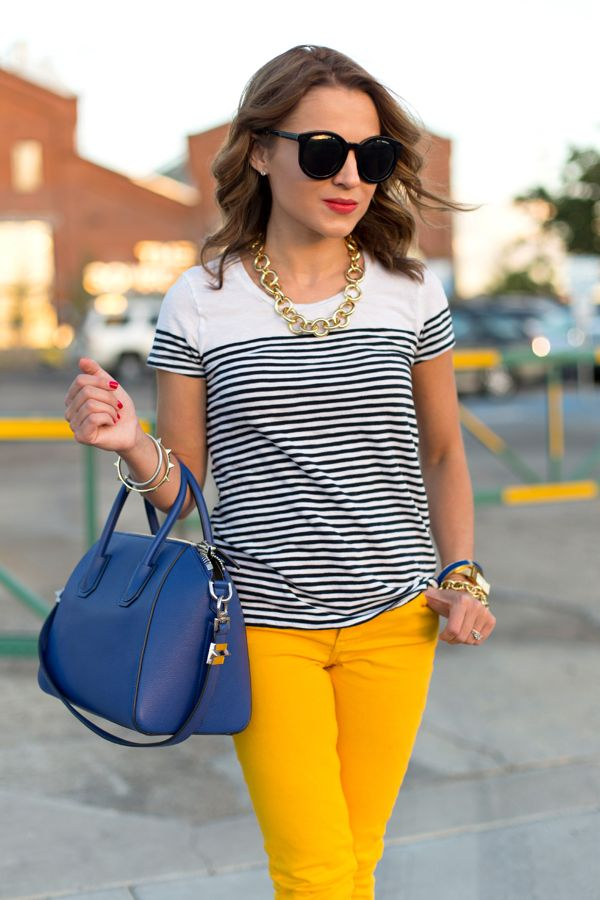 Tee: J.Crew Factory | Pants: H&M (5 more ways to wear them here) | Sunglasses: Karen Walker | Shoes: kate spade new york | Bag: Givenchy 'Small Antigona' | Necklace: Ann Taylor | Bracelets: David Yurman, Ann Taylor, J.Crew, H&M | Lips: NARS 'Red Square'
