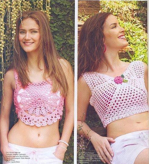 Two Pretty Pink Crop Tops free crochet graph pattern