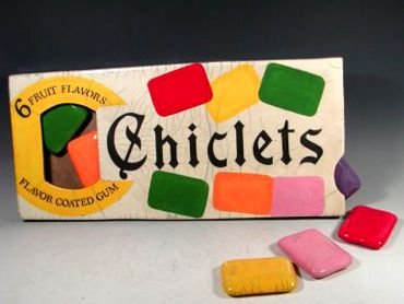 Chiclets.  Pinner says: You would have to chew several to get much chewing gum ... but they were colorful and fun.
