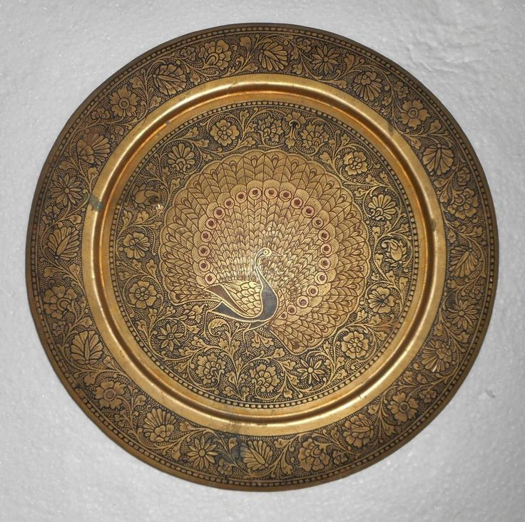 India Vintage Brass Wall Plate Peacock Design Very