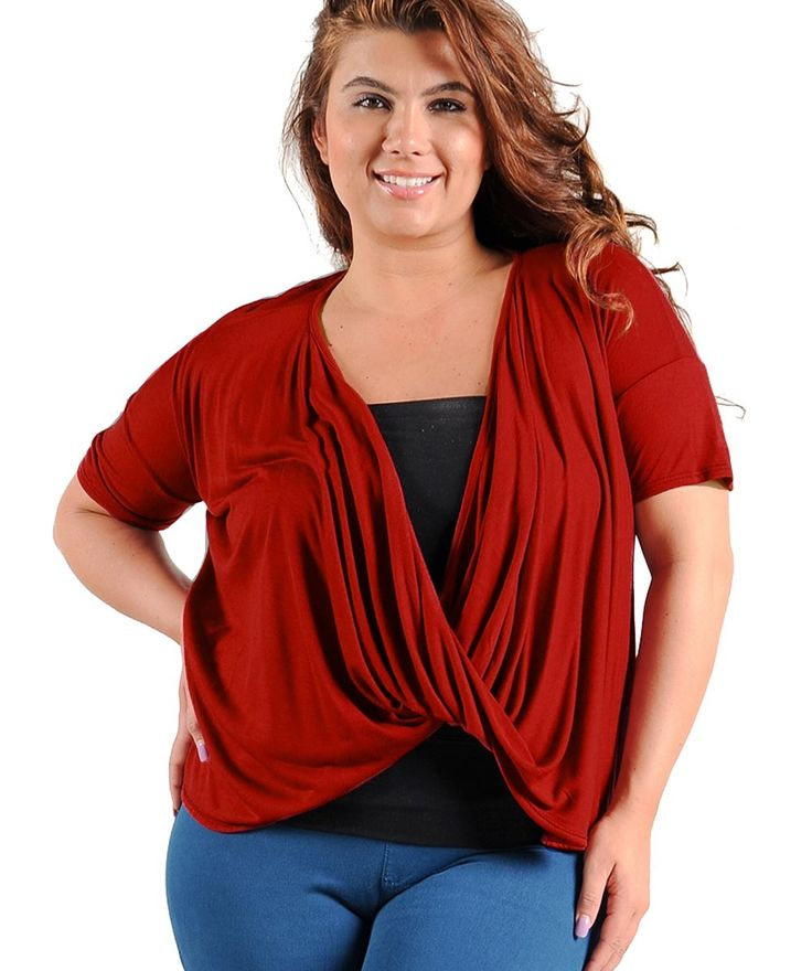 Front Cross Wine Top $24.99  #plussize #plussizefashion #plussizeclothing #summer #summer2017 #cardigan #red #wine #sale  	Short sleeve top has a deep draped neckline that crosses at the front bodice. Best worn with layering piece beneath. Layering piece not included.