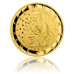 Zlatá půluncová mince 25 NZD Palladium země české proof