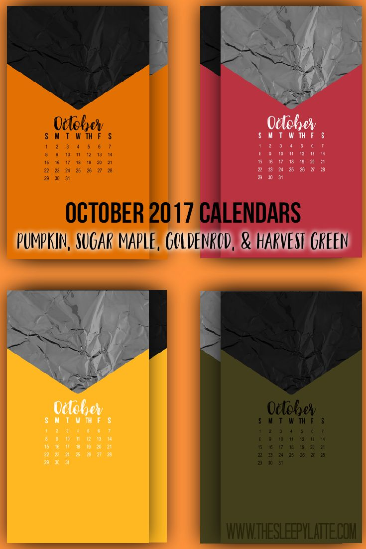 October 2017 Lockscreen Calendars from The Sleepy Latte. Hi everyone! I don't know about you but I have a hunch you might love pretty lock screens and home screens. I decided that it would be fun to create some lock-screen calendars for each month. Originally, I made some monthly calendars for my own use but I got to thinking that maybe you might enjoy them as well!  #calendars #organization #2017 #october #autumn #fall #harvest #thesleepylatte