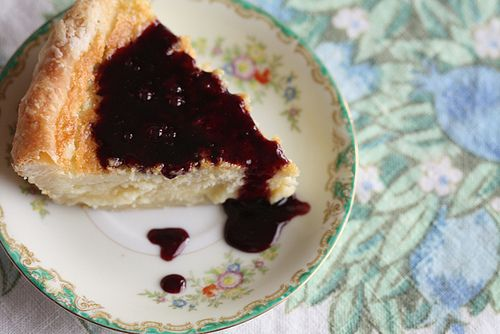 Buttermilk pie with warm blackberry sauce. Includes a buttermilk pie dough that looks interesting.
