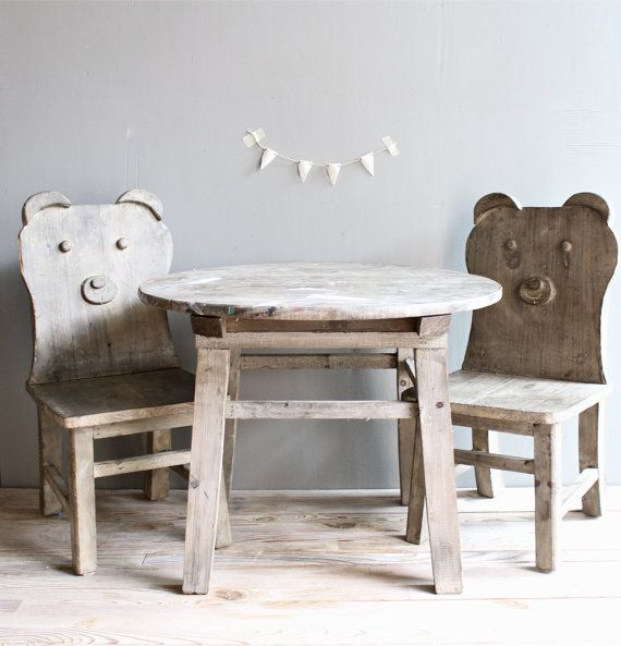 Vintage Wooden Set Children Table and Chairs.