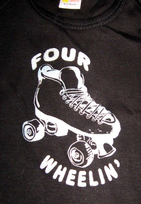 Four Wheelin Roller Skate Short Sleeve Cotton Baby lap by DeFYink, $10.00