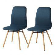 Gestoffeerde stoelen Daleras (2-delige set) - geweven stof/massief beukenhout - Jeansblauw