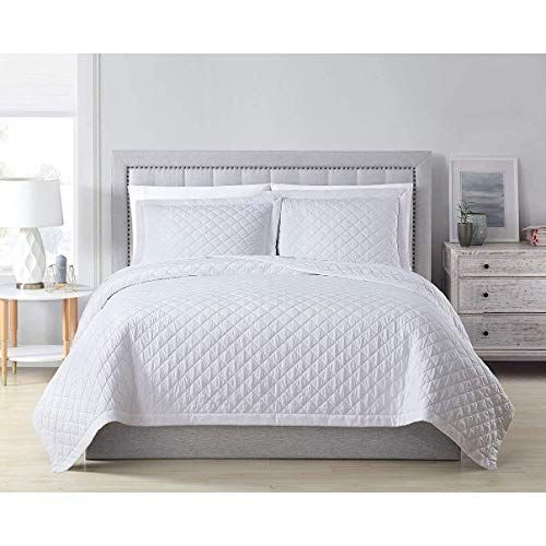Misc White Bamboo Coverlet King Quilted Oversized Rayon Bedding Viscose Lightweight Box Stitch Pattern Fabric 108 96 3 Piece Best