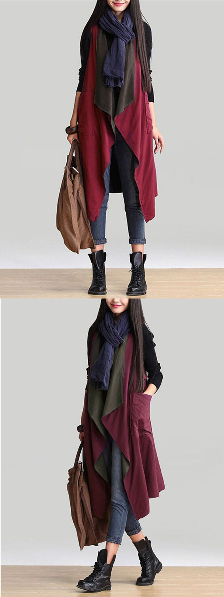 Ethnic Women Autumn Sleeveless Reversible Long Vest Cardigan