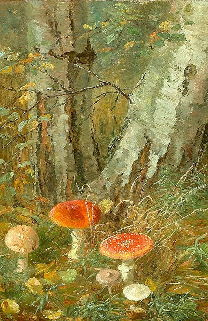"""Anthonore Christensen (Danish, 1849-1926), """"Forest floor with mushrooms"""" 