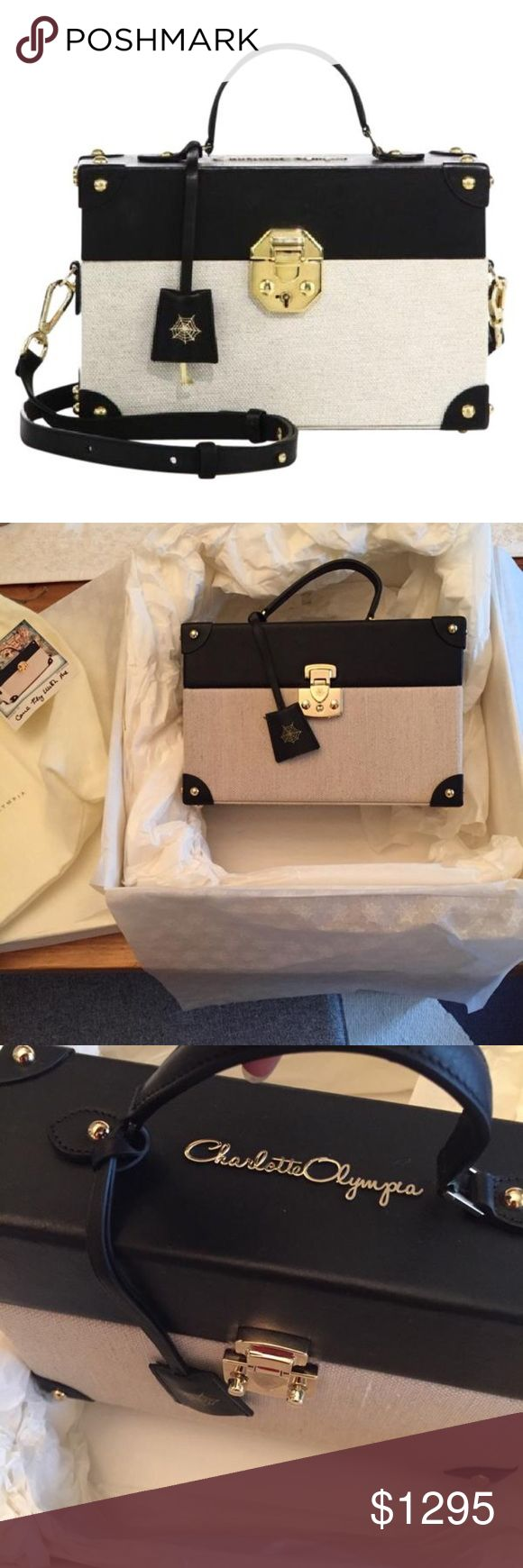 🎀Charlotte Olympia come fly with me boxed bag Leather and canvas combination. Inspired by vintage trunk suitcase. Boxed and structured bag is very much in trend right now. Made in Italy. Comes with absolutely everything.. sold out Charlotte Olympia Bags Crossbody Bags