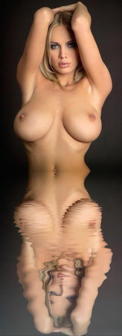 Beautiful nude big boobs on water