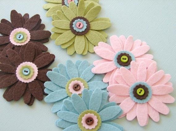 Flores broches de fieltro fotos y v deos para aprender - Broches para manualidades ...