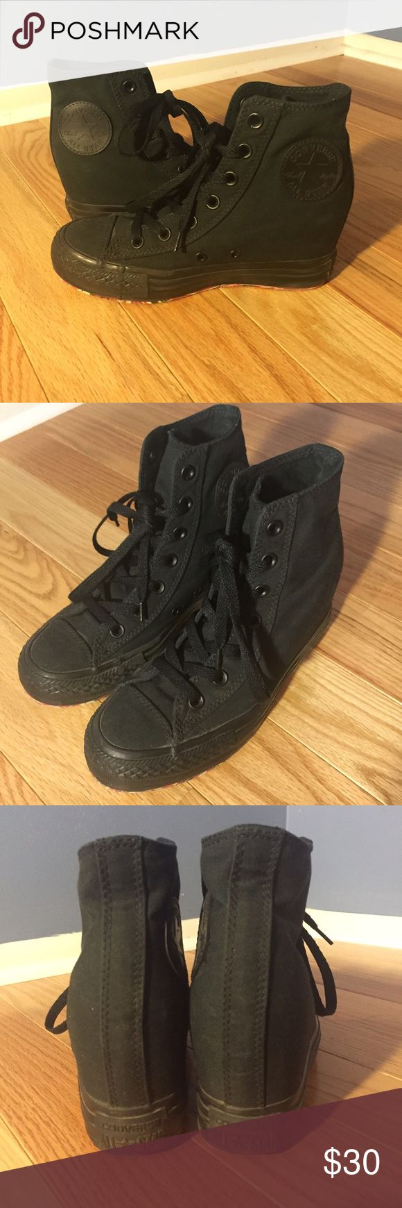 All Black Converse Wedge Hi Top Sneakers Shoes 6.5 All black Converse Wedge sneakers. New - never been worn. Size 6.5. Converse Shoes Sneakers