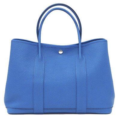 Auth HERMES Garden party PM Negonda Blue zanzibar Silver A Handbag Purse 235386