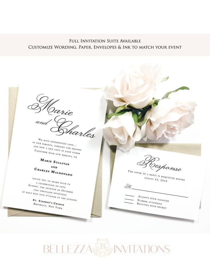 Simple Elegant Script Wedding Invitations,  Elegant Wedding Invitations, Black & White Wedding Invitations, Classic Wedding Invitations by BellezzaInvitations on Etsy