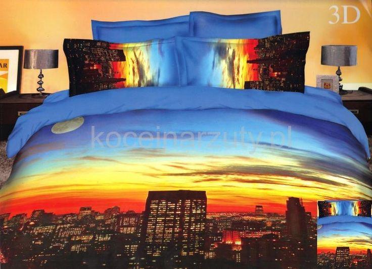 Niebieska pościel do sypialni z motywem miasta