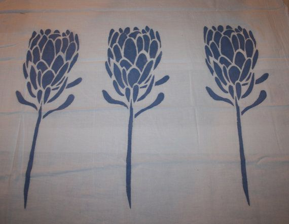 Flour Sack Tea Towel Delft Blue Long Stemmed Protea by Roomsfull, $8.00
