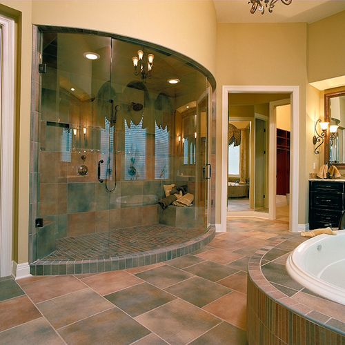 Unique curved glass shower enclosure by #ryansallglass #housetrends
