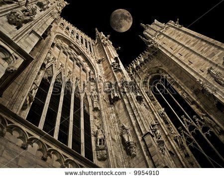 full moon night over Milan cathedral