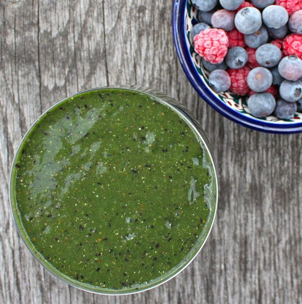 Makes one glass  - 1 ripe banana  - 1 cup of frozen blueberries (I buy them fresh then freeze them)  - 1 cup of spinach  - 1 cup of kale  - 1/3 of a cup of water/almond milk/coconut water  - 1 tablespoon of ground flax seeds  - 1 tablespoon of chia seeds  - 1 teaspoon of hemp protein powder  - 1 teaspoon of spirulina  Optional:2 medjool dates (this sweetens it)