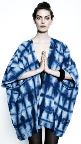 Shibori - This garment is a Shibori inspired design from Kalen Kaminski and Astrid Chastka. They tie tye in the style of Shibori making unique designs. The iconic blue colour is used on the garment, with a fresh and updated look. http://www.ofakind.com/designers/upstate