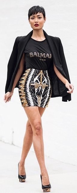 Bw & Gold Printed Mini Skirt by Micah Gianneli
