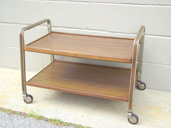 vintage rolling tv stand cart media stereo record player holder 60s american retro