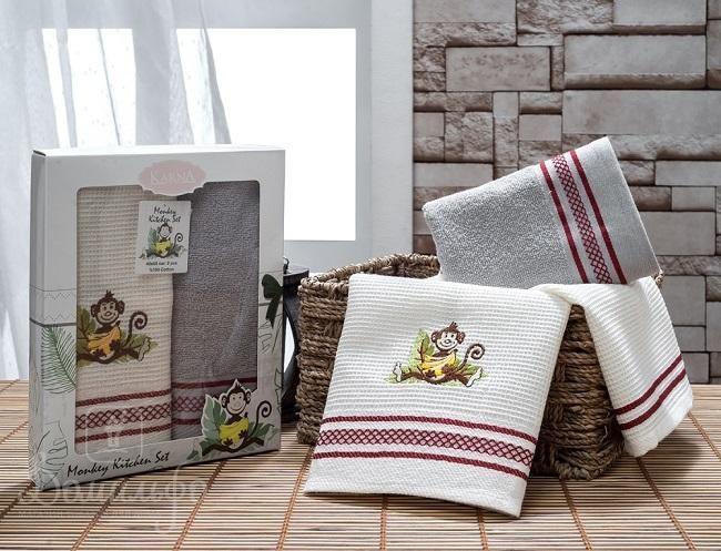 Набор полотенец с вышивкой KARNA обезьяна TERA серый 40х65 (2шт) от Karna (Турция) - купить по низкой цене в интернет магазине Домильфо