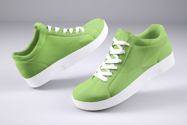 Create your own branded shoe design mockup online. Upload your image to turn blank white skate shoes into custom artwork. A creative 3D mockup featuring skate shoes hovering on a gray studio background.