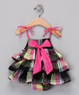This just can't be cuter...madras plaid, big bows, ruffles........adorable!  Sophie Catalou, Black Plaid 'Lydia' Skirted Bodysuit.  Www.Zulily.com