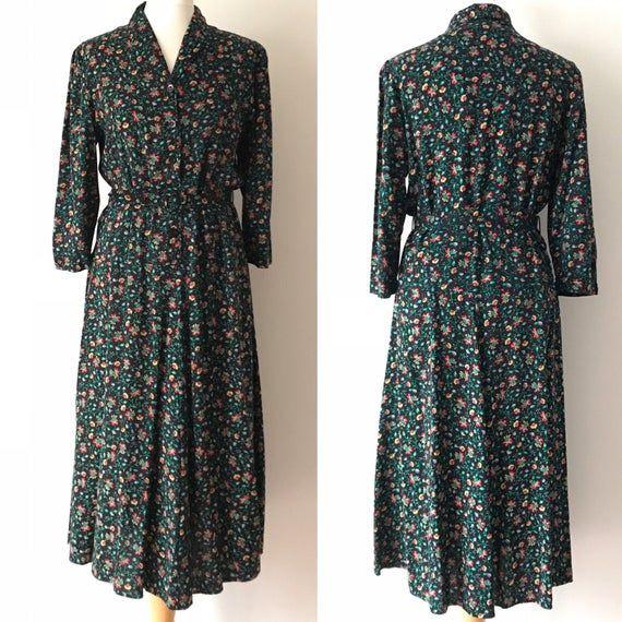 Vintage 80 S St Michael Floral Print Dress Vintage Clothing Uk Size 12 In 2020 Vintage Outfits Dresses Floral Print Dress