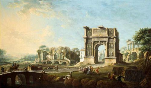 Visita de la reina María Amalia de Sajonia al Arco de Trajano en Benevento - Antonio Joli, 1759, Museo del Prado