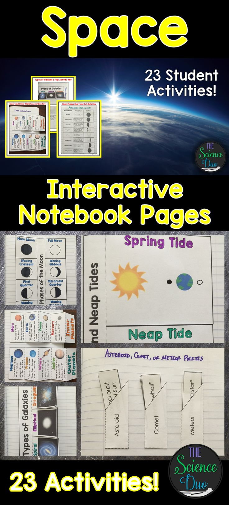 Bring engaging and interactive activities into your classroom with these science notebook pages. This resource contains 23 different interactive notebook activities covering galaxies, lunar cycle and moon phases, tides, eclipses, solar system, seasons, and much more!