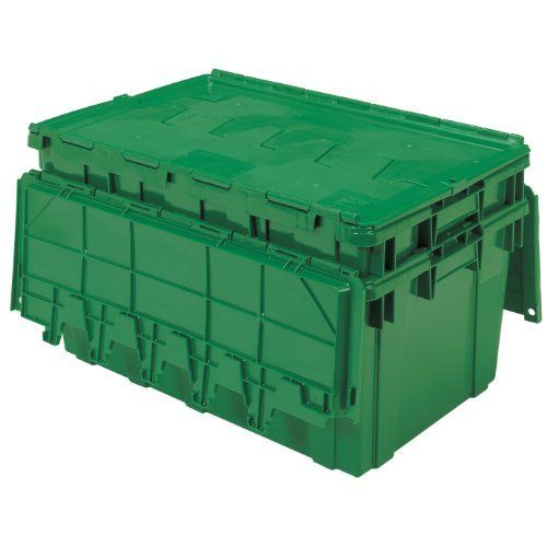 Buckhorn Industrial Grade Plastic Attached Lid Flip Top 17 Gallon Container Tote 27 X 17 X 12 Grey