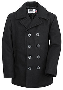Classic 32 Oz. Melton Wool Naval Pea Coat 740 by Schott N.Y.C. Made in the USA.